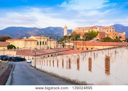Panoramic view over Stella fort and the lighthouse in Portoferraio town of Elba island in Italy. It is the largest comune of the province of Livorno on the edge of the eponymous harbor of the island of Elba.