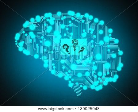 circuit board with question mark in form of human brain isolated on blue