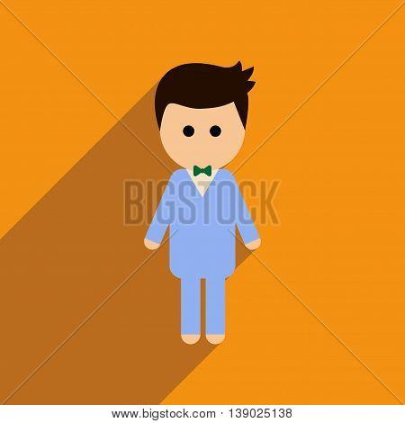Flat web icon with long shadow groom