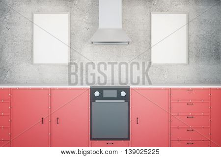Red Kitchen With Frames