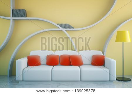 Front view of futuristic living room interior with red pillows on white couch floor lamp and abstract shelves on yellow concrete wall background. 3D Rendering