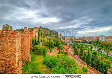 Wide panoramic view over Malaga city in summer season Andalusia - Spain