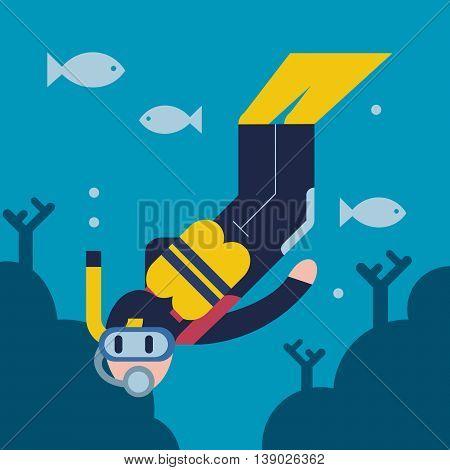 Flat design illustration of a scuba diver.