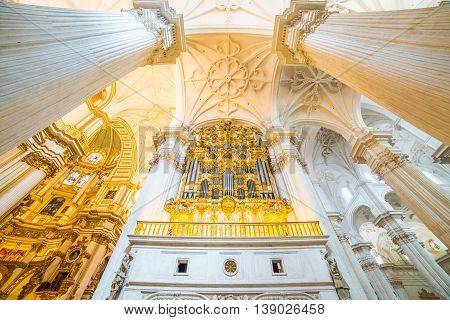 Beautiful artistic architecture inside Cathedral (old style dome columns) in Granada Spain