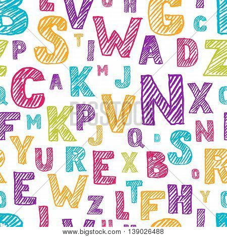 Vector Seamless Pattern With Color Hand Drawn Sketch Alphabet. Scratched And Hatching Letters.