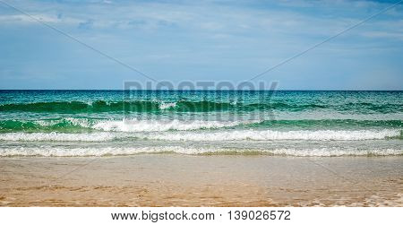 Tropical Sandy Beach With Clear Sky At The Low Tide. Atlantic Ocean Spain.
