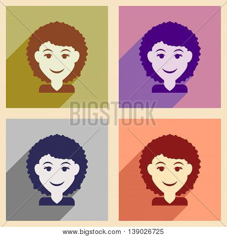 Set of flat web icons with long shadow women's haircut