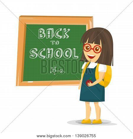 Schoolgirl with backpack near blackboard. Vector Illustration