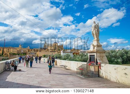 Cordoba, Spain - May 10, 2016: San Rafael statue of the Roman bridge in Cordoba - Spain