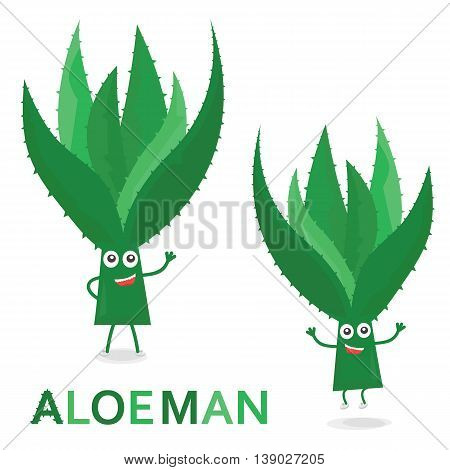 Aloe characters. Cartoon Aloe Man isolated on white. Vector Illustration