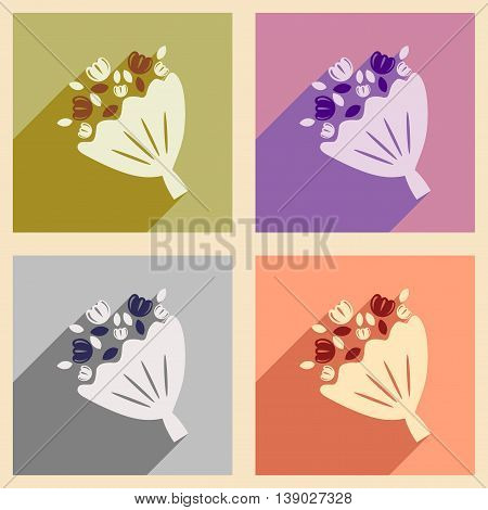 Set of flat web icons with long shadow bride's bouquet