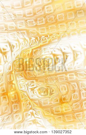 Abstract fantasy color splashes on white background. Creative golden fractal design for greeting cards or t-shirts.
