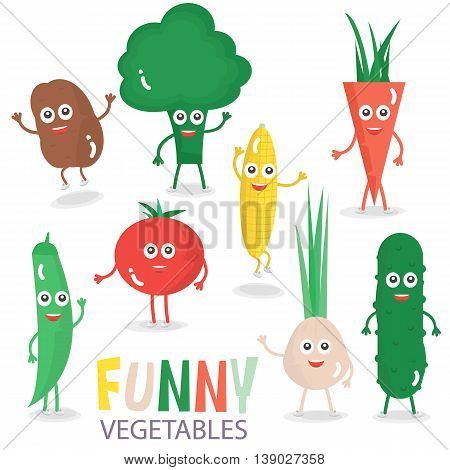 Funny cartoon vegetables set. Vector illustration isolated on white