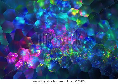 Abstract glowing shapes on black background. Fantasy hexagonal fractal texture in neon blue purple pink and green colors. 3D rendering.
