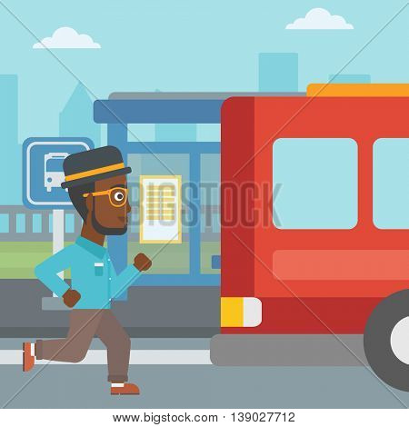 An african-american latecomer man running along the sidewalk to reach a bus. Hipster man with the beard came too late at bus stop. Man chasing a bus. Vector flat design illustration. Square layout.