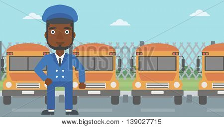 An african-american school bus driver standing in front of yellow bus. Vector flat design illustration. Horizontal  layout.
