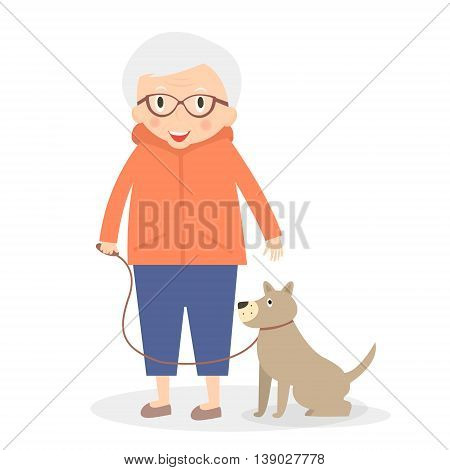 Cute senior woman with dog on the walk. Grandmother in sport clothes. Vector illustration.