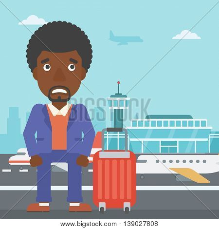 An african-american man frightened by future flight. Young man suffering from fear of flying. Phobia, fear of flying concept. Vector flat design illustration. Square layout.