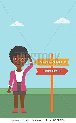 An african-american woman standing at road sign with two career pathways. Woman making a decision of her career pathway. Vector flat design illustration. Vertical layout.