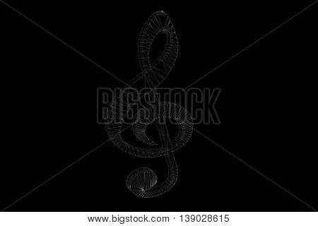 3D Music Note in Wireframe Hologram Style. Nice 3D Rendering