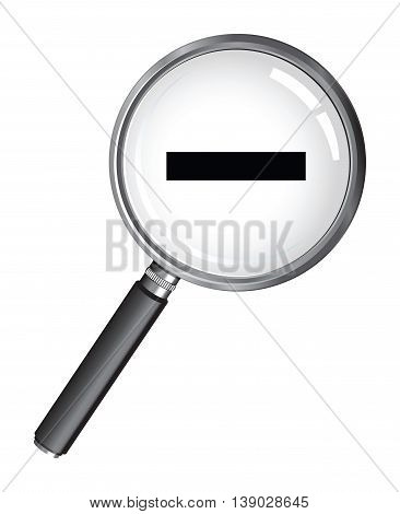 a magnifying glass with a minus symbol