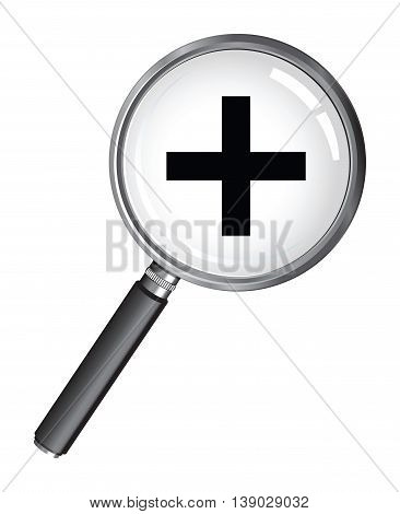 a magnifying glass with a plus symbol