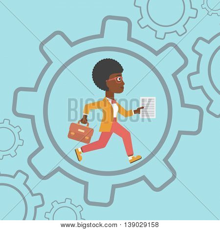 An african-american young business woman running with a briefcase and a document inside the gear. Concept of stress in business. Vector flat design illustration. Square layout.