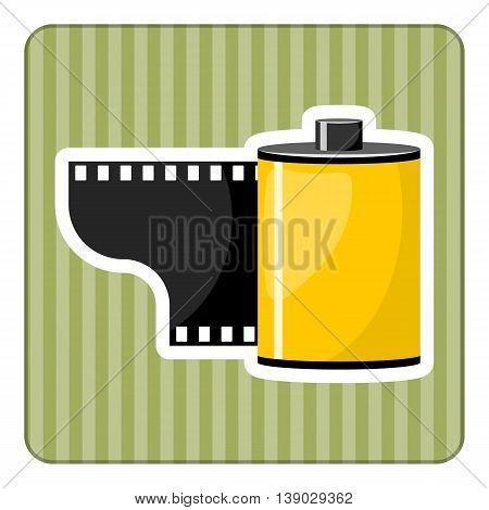 Camera film roll, vector illustration in cartoon style