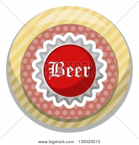 Beer cap colorful icon. Vector illustration in cartoon style
