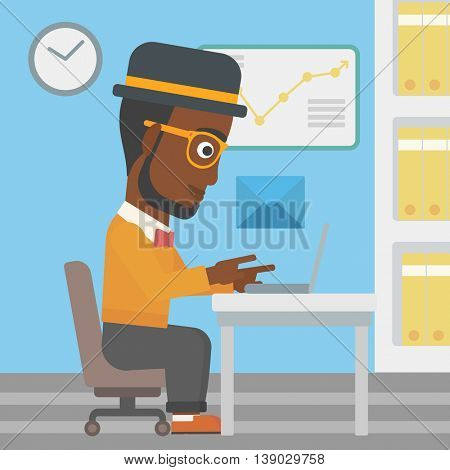 An african-american businessman working on his laptop in office and receiving or sending email. Business technology, email concept. Vector flat design illustration. Square layout.