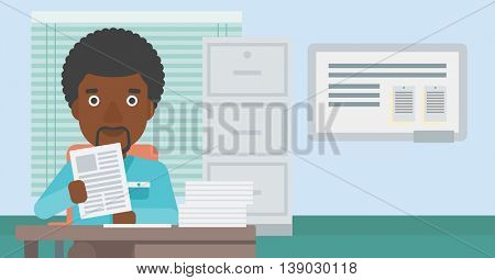 An african-american young human resources manager reading application portfolios in the office. Concept of recruitment of staff, job interview. Vector flat design illustration. Horizontal layout.