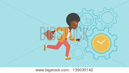 An african-american young business woman with briefcase running on a blue background with clock and cogwheels. Vector flat design illustration. Horizontal layout.