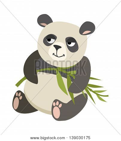 cute panda holding bamboo on a white background. vector drawing