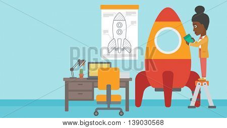 An african-american woman standing on ladder and engeneering a rocket. Woman working on the start up of a new business. Business start up concept. Vector flat design illustration. Horizontal layout.