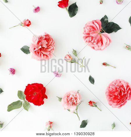 Roses and green leaves on white background. Flat lay top view