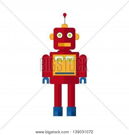 Vector illustration cute retro robot. Vintage robot icon. Machine robot flat