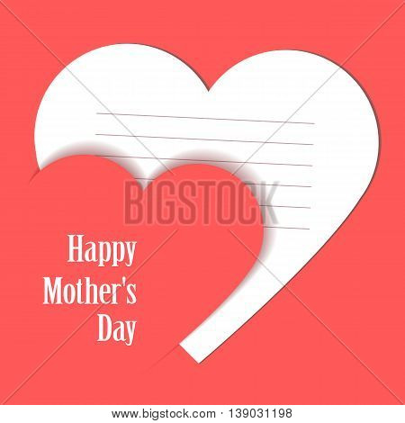 Happy Mothers's Day. Card with hearts. Taken white card for text. Grouped for easy editing. Perfect for invitations or announcements.