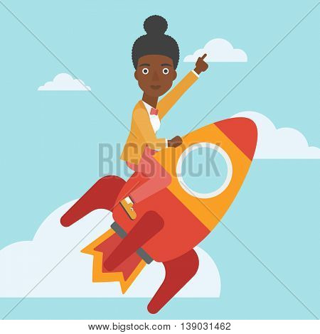 An african-american business woman flying on the business start up rocket and pointing forefinger up. Successful business start up concept. Vector flat design illustration. Square layout.