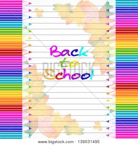 School notebook background with yellow and orange autumn leaves and colorful pencils on page of copybook in line. Back to school. Vector illustration