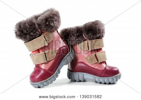 Children's Winter Boots Isolated On White Background