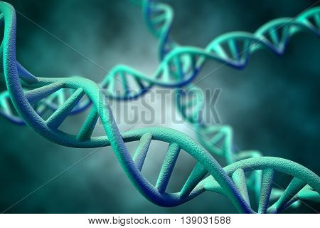 3D rendering of DNA molecule of human.