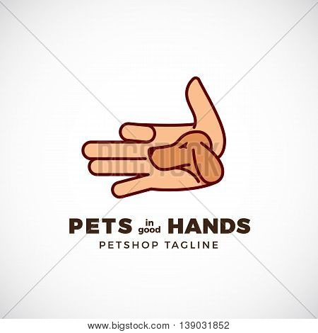 Pet Shop Abstract Vector Emblem or Logo Template. Line Style Palm with a Dog Face Silhouette. Isolated.