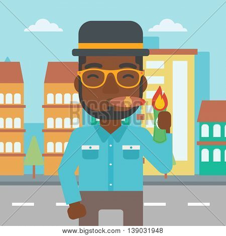 An african-american businessman lighting a cigar with dollar bill. A successful businessman smoking a cigar on the background of modern city. Vector flat design illustration. Square layout.