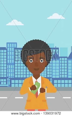 An african-american young business woman putting money in her pocket on a city background. Vector flat design illustration. Vertical layout.