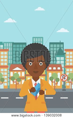 An african-american young business woman putting an envelope in her pocket on a city background. Vector flat design illustration. Vertical layout.
