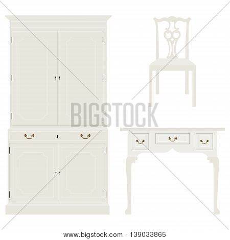 Vector illustration vintage luxury white table cabinet and chair. Retro furniture. Console table