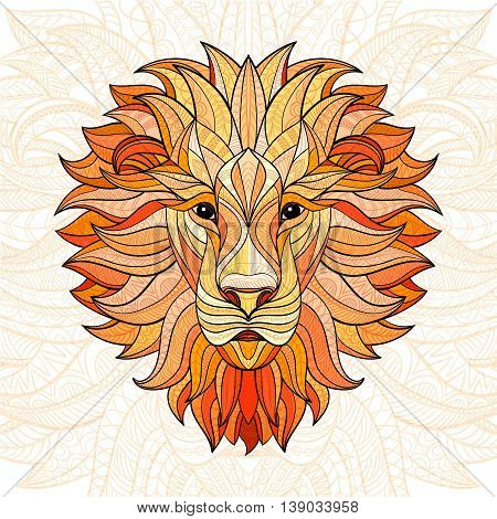 Detailed colored Lion in aztec style. Patterned head of the lion on isolated background. African indian totem tattoo design. Vector illustration. Eps10.
