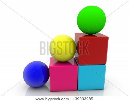 Toy cubes and balls assembled on white . 3D illustration
