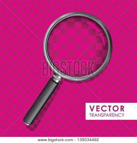 a magnifying glass on a pink transparency background