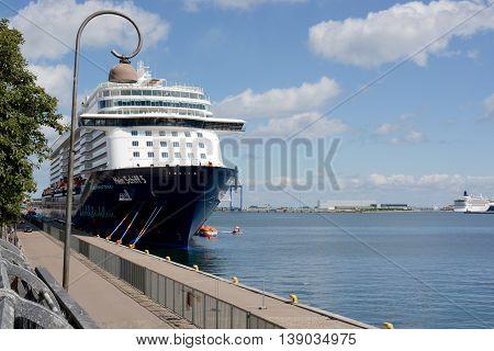 COPENHAGEN, DENMARK - JULY 13, 2016: German cruise ship, Mein Schiff 5, in port at Copenhagen, Denmark